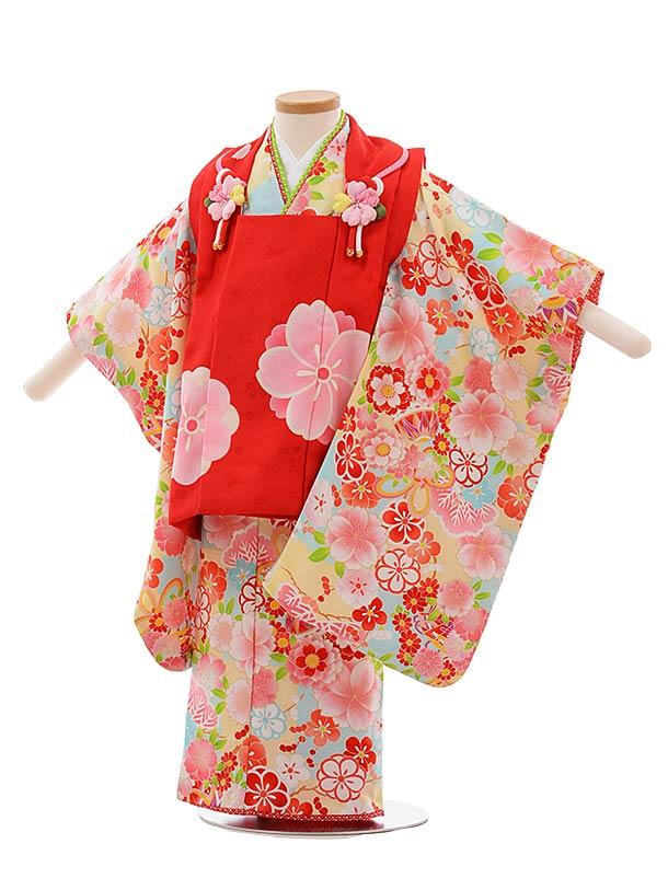 七五三(3歳女児被布)F413 式部浪漫 赤×水色 桜