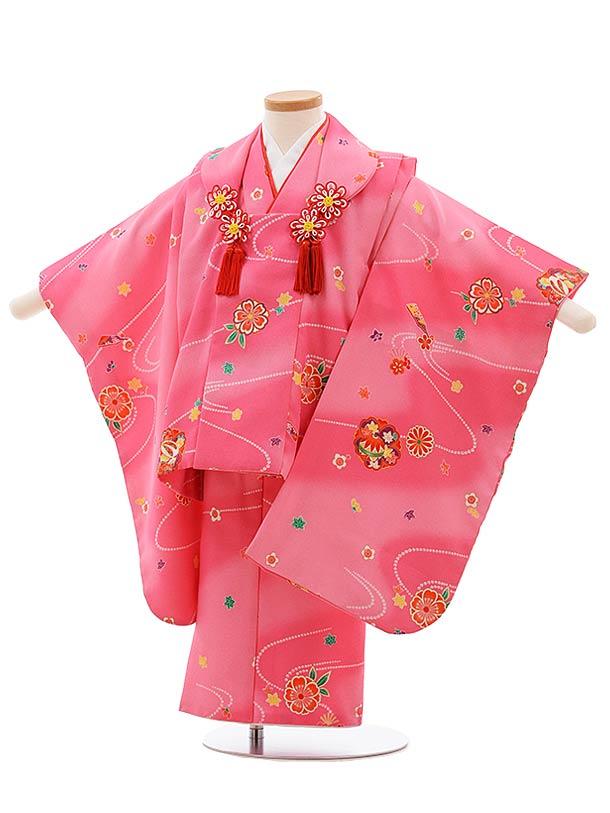 七五三(3歳女児被布)F414 ピンクぼかし 流水花