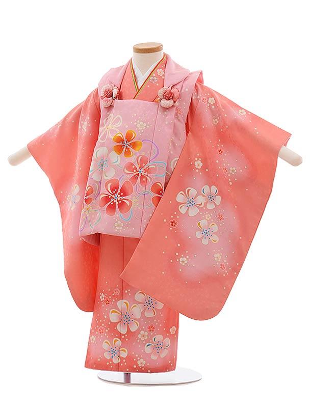七五三(3歳女児被布)F415 ピンク×サーモンピンク 花