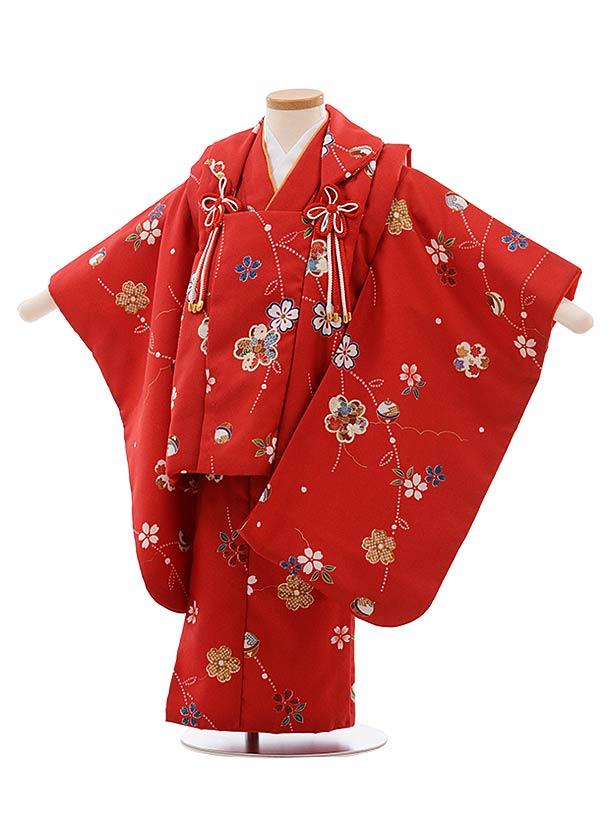 七五三(3歳女被布)F418 赤地 枝重桜