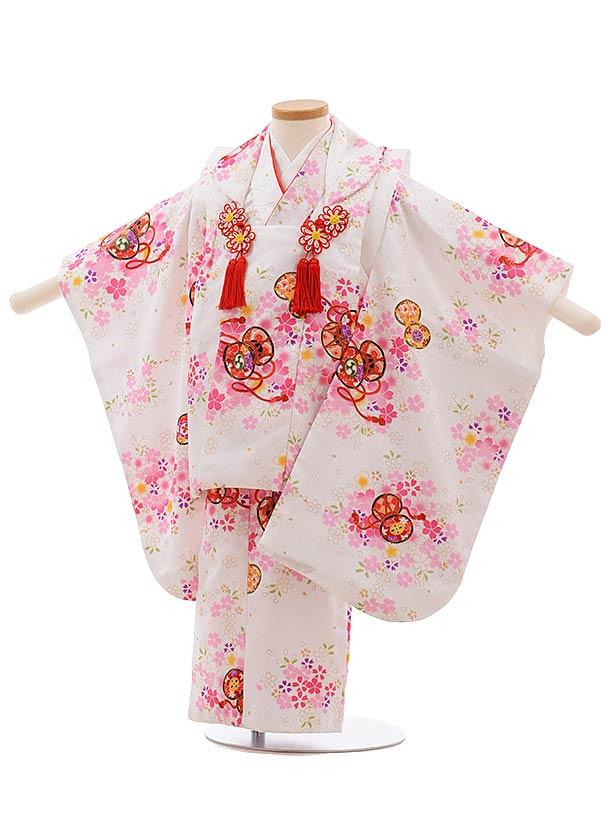 七五三(3歳女児被布)F421 白地 桜に鼓
