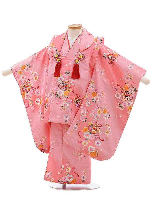 七五三(3歳女児被布)F422 ピンク地 桜に鈴