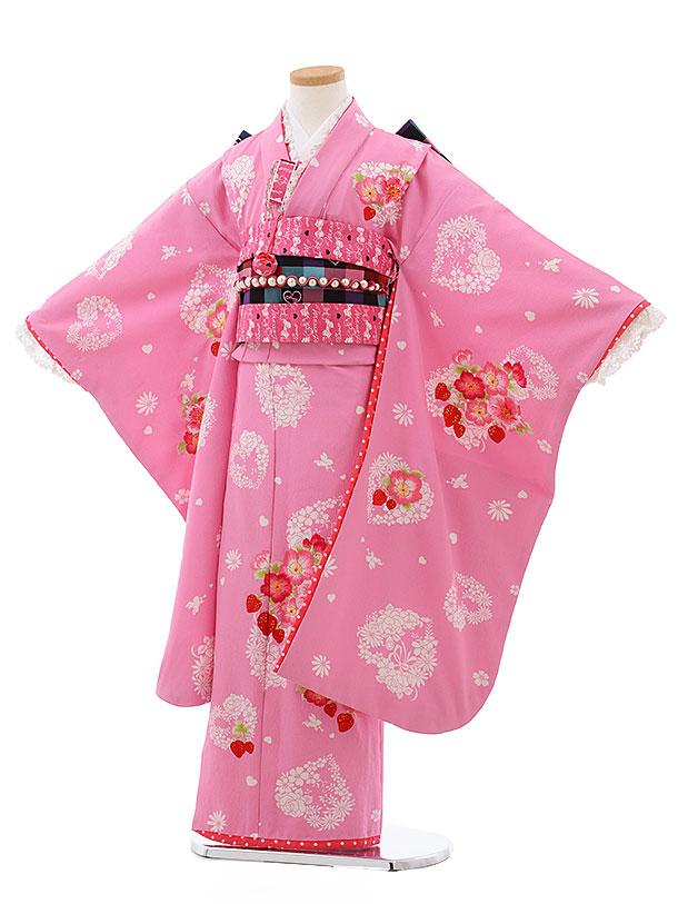 七五三レンタル(7歳女児結び帯) F425 ピンク地 ハートに花 いちご