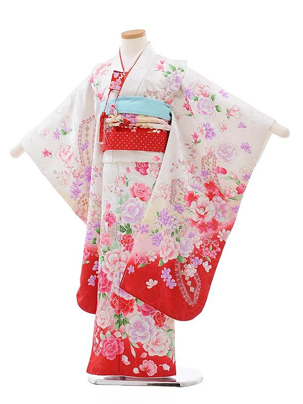 七五三レンタル(7歳女児結び帯) F430 白地 ラメ 裾赤 花
