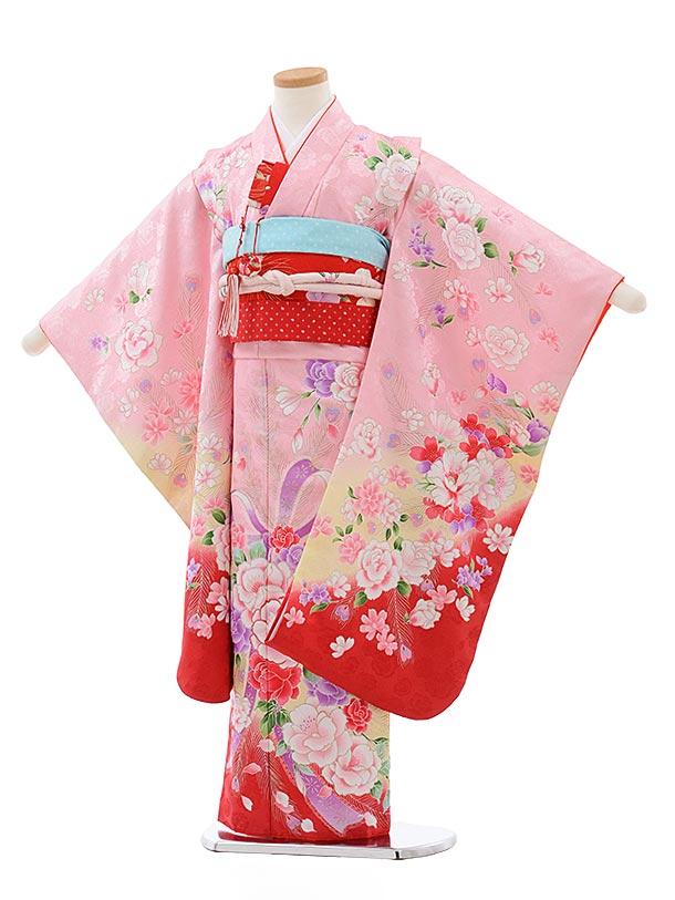 七五三レンタル(7歳女児結び帯) F431 ピンク地 ラメ 裾赤 花