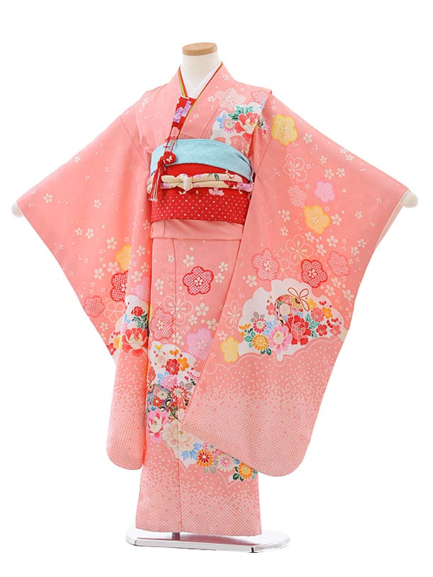 七五三レンタル(7歳女児結び帯) F432 ピンク地 鈴にぼたん