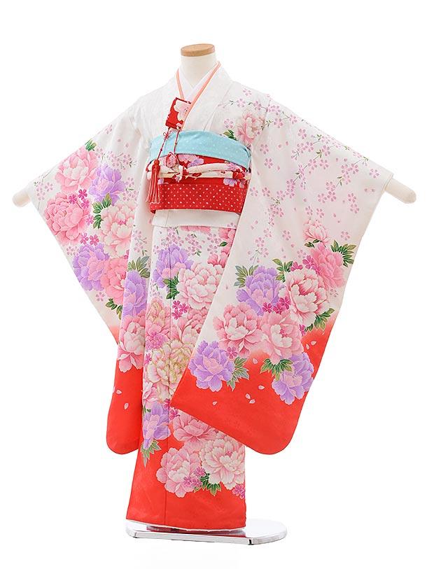 七五三レンタル(7歳女児結び帯) F433 白地 裾赤 ぼたん
