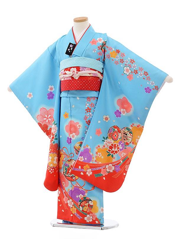 七五三レンタル(7歳女児結び帯) F434 水色地 鈴に桜
