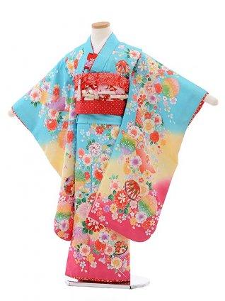 七五三レンタル(7歳女児結び帯) F435 水色地 裾ピンク 鈴に花