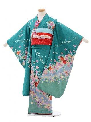 七五三レンタル(7歳女児結び帯) F437 グリーン地 桜