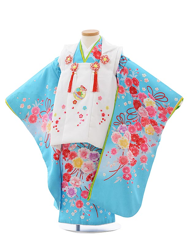 七五三(3歳女児被布)F438 白×水色 桜