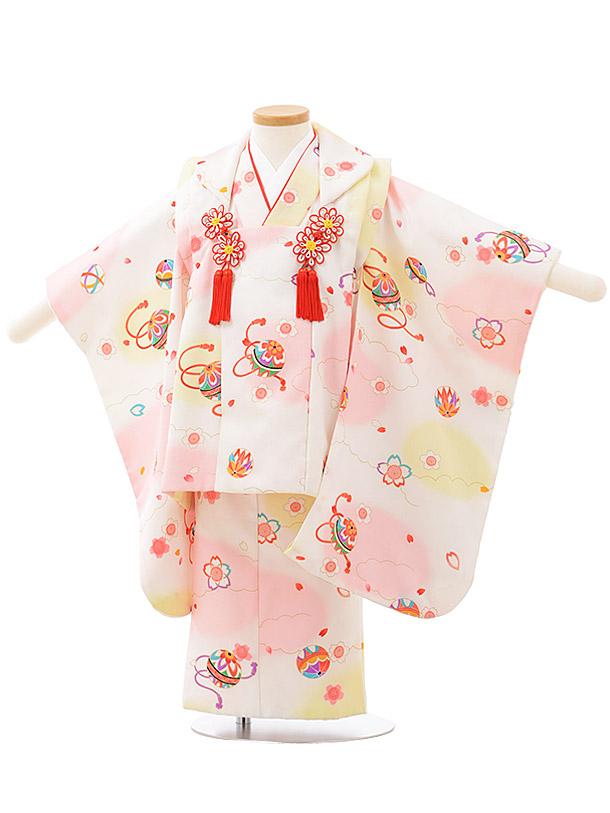 七五三レンタル(3歳女児被布)F481白ぼかし桜まり
