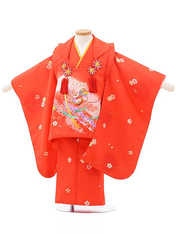 七五三レンタル(3歳女児被布)F482赤地 桜に鈴