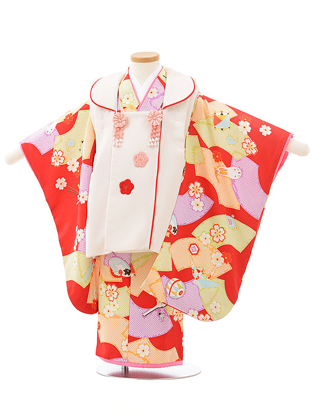 七五三レンタル(3歳女児被布)F483オフホワイト×赤地おもちゃ