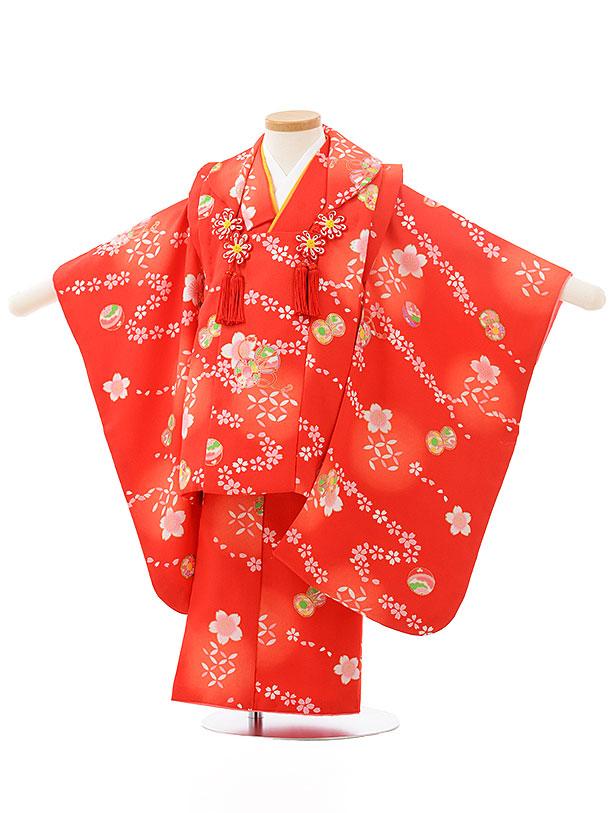 七五三レンタル(3歳女児被布)F484赤地 鼓鈴に桜