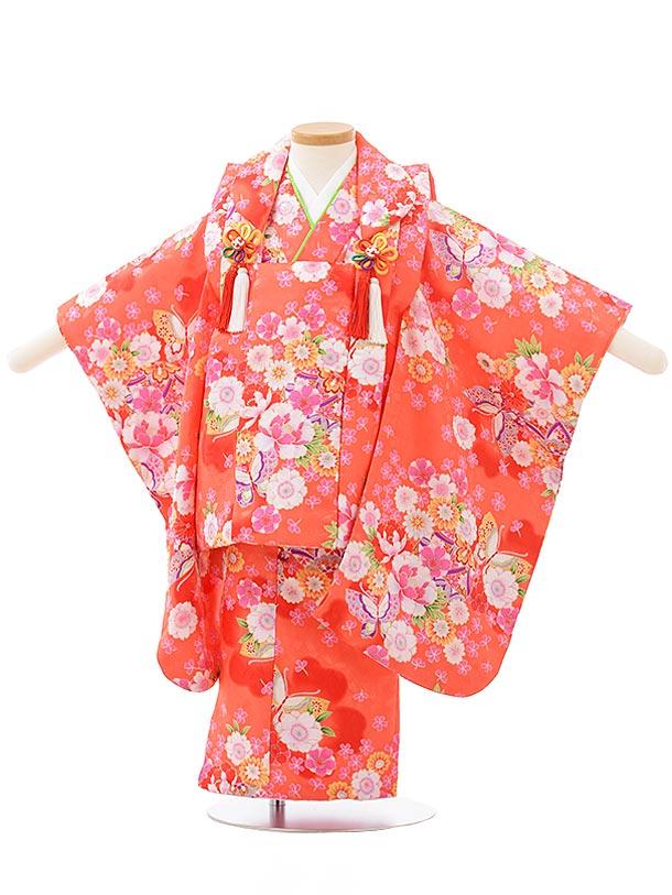 七五三レンタル(3歳女児被布)F486オレンジピンク花に蝶