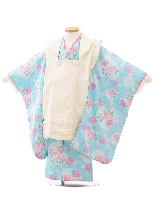 七五三レンタル(3歳女児被布)F487クリーム色レース×水色バラ