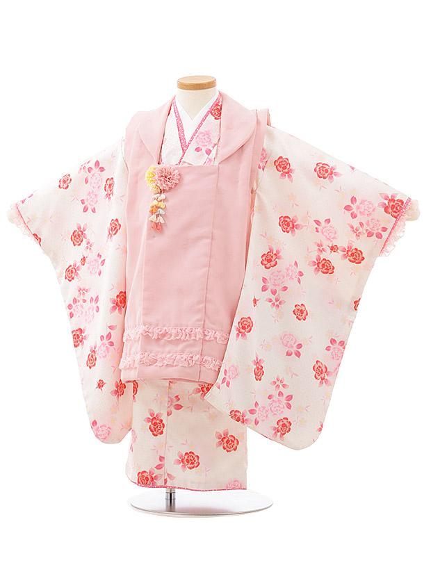 七五三レンタル(3歳女児被布)F489ピンクレース×白地バラ