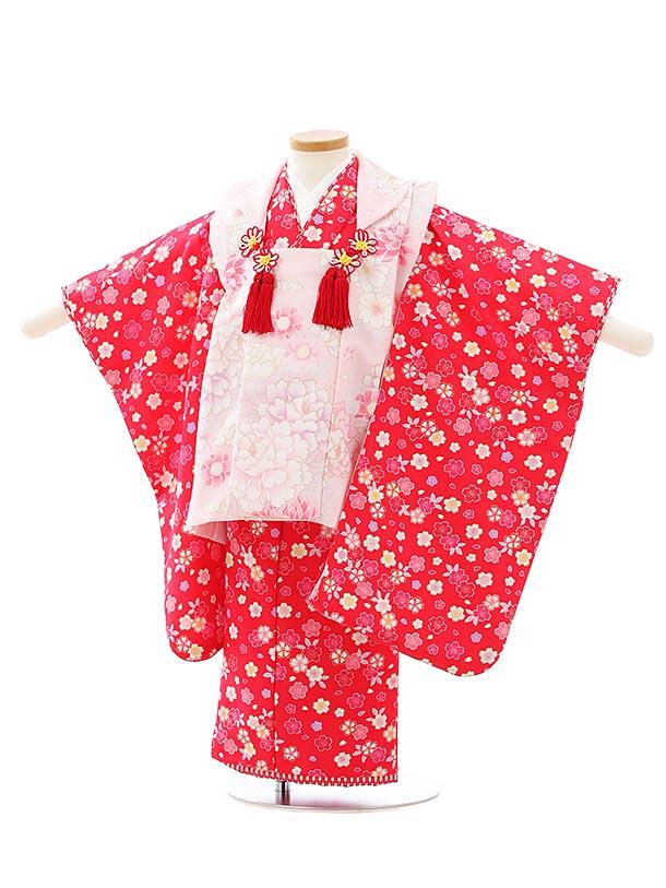 七五三レンタル(3歳女児被布)F512うすピンク花xピンク小花
