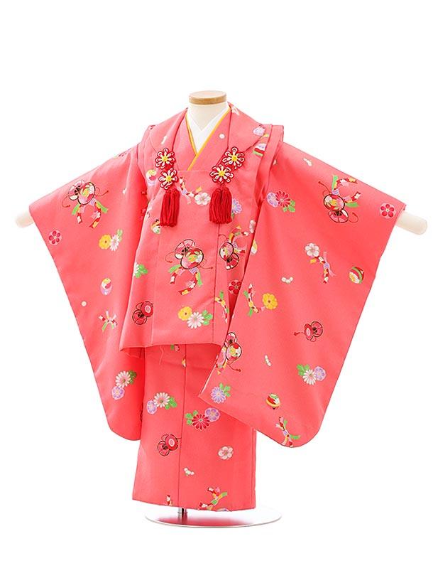 七五三レンタル(3歳女児被布)F517ピンク鼓のし花