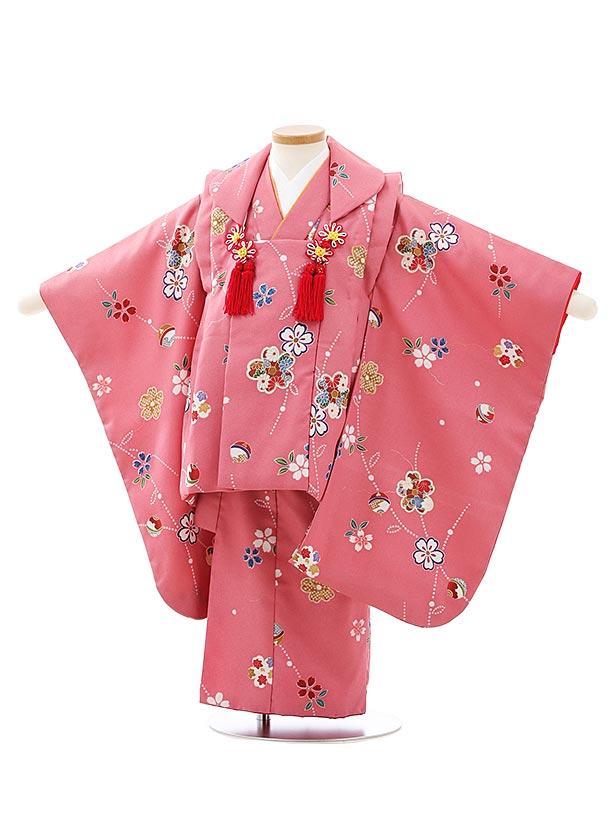 七五三レンタル(3歳女児被布)F520あづき色桜