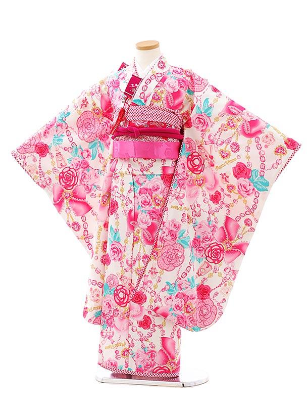 七五三レンタル(7歳女児結び帯)F530白地ピンクバラ