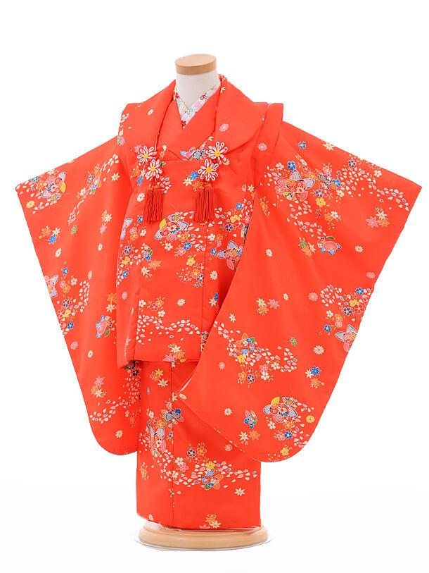 七五三レンタル(3歳女被布)G006赤地小花橘