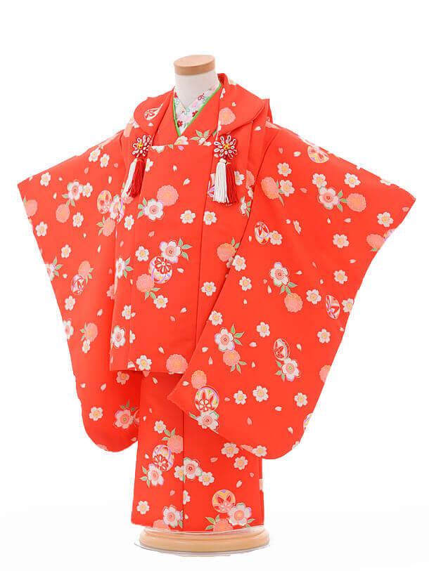 七五三レンタル(3歳女被布)G010赤地桜まり