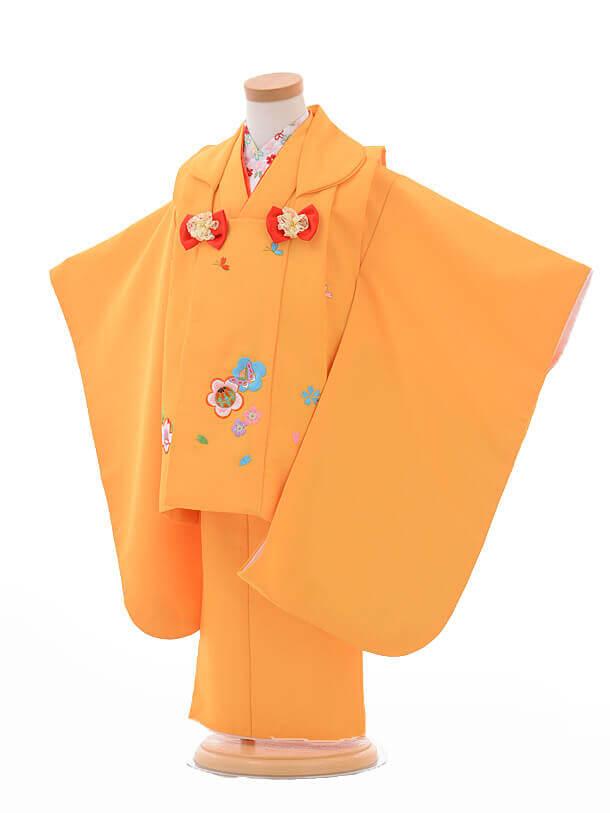 七五三レンタル(3歳女被布)G014黄色梅ししゅう