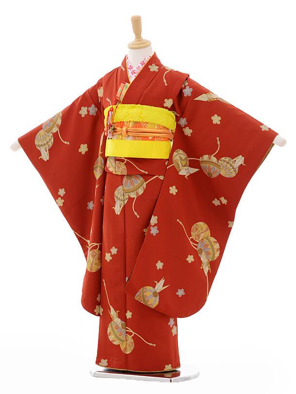 七五三レンタル(7歳女結び帯)G025赤茶色まり古典