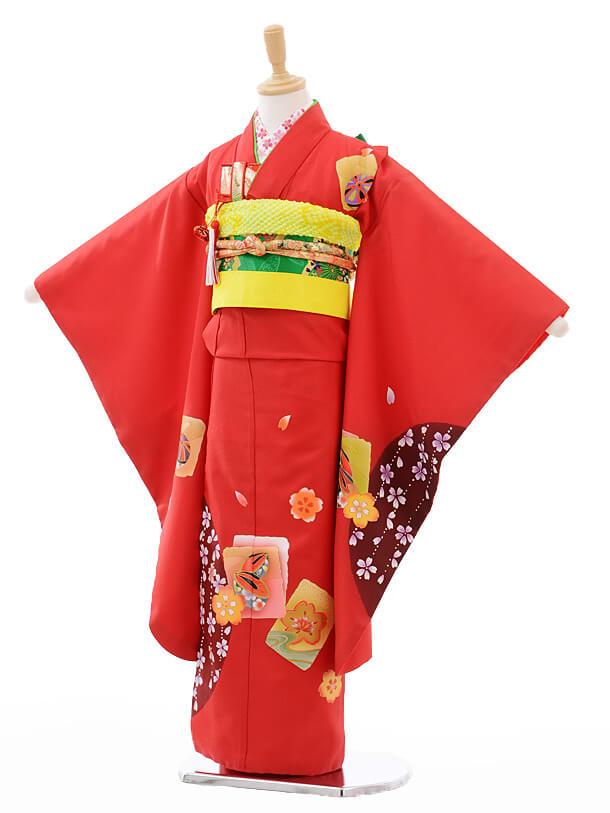 七五三レンタル(7歳女結び帯)G027赤地色紙に桜