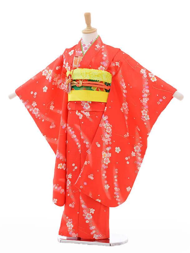 七五三レンタル(7歳女結び帯)G031赤地桜ちらし