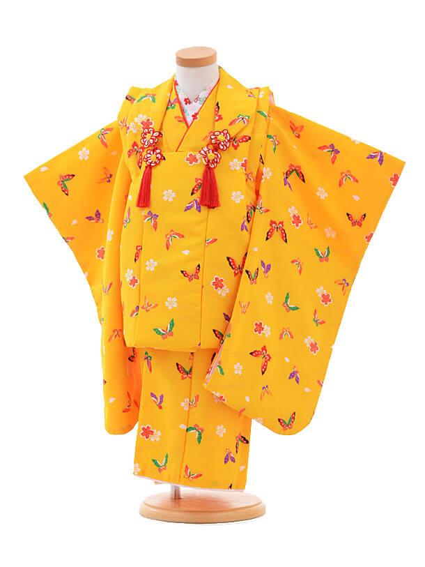 ▶七五三(3歳女被布)H002黄色 蝶