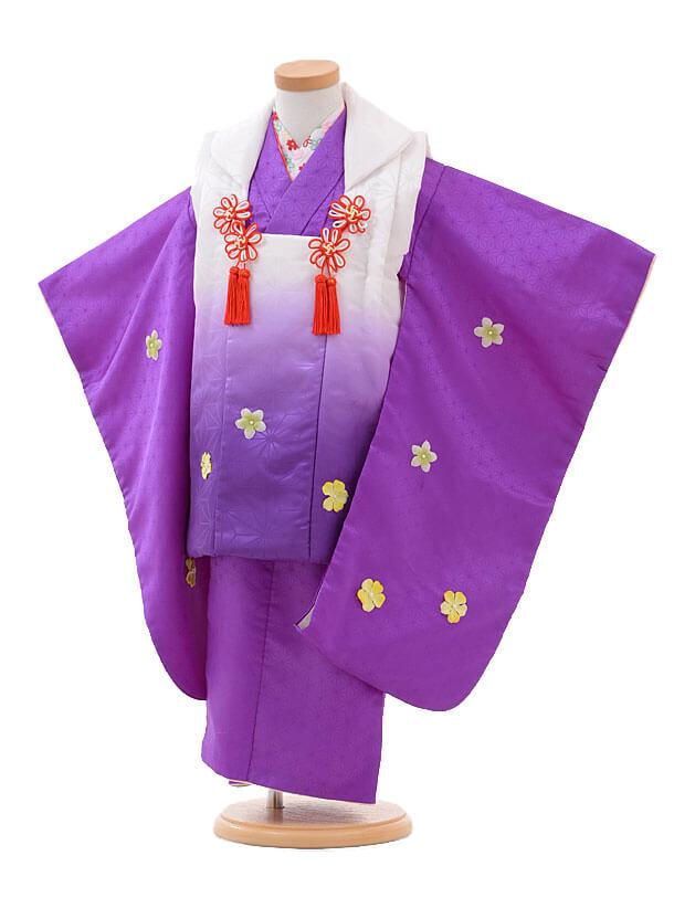 七五三(3歳女被布)H003紫 小花モチーフ