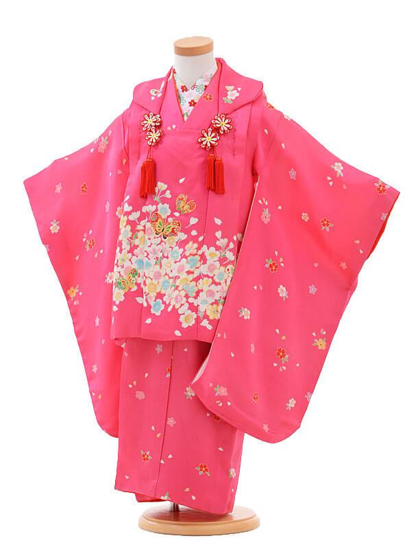 七五三(3歳女被布)H004ピンク地さくらに蝶