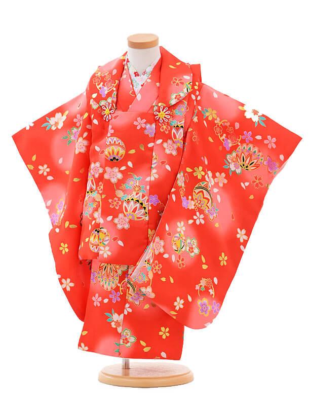 七五三(3歳女被布)H006赤地 桜まり
