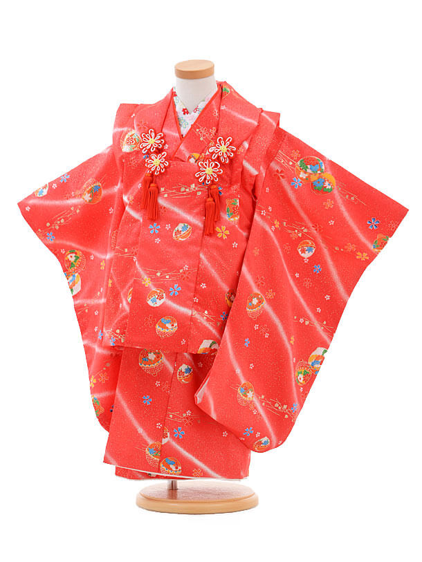 七五三(3歳女被布)H011赤ピンク地桜まり