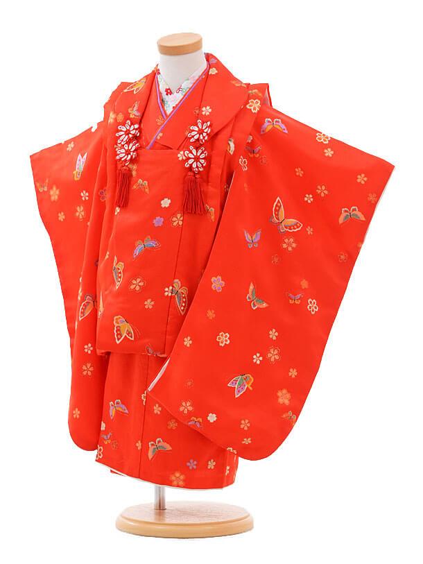 七五三(3歳女被布)H012赤地 桜に蝶