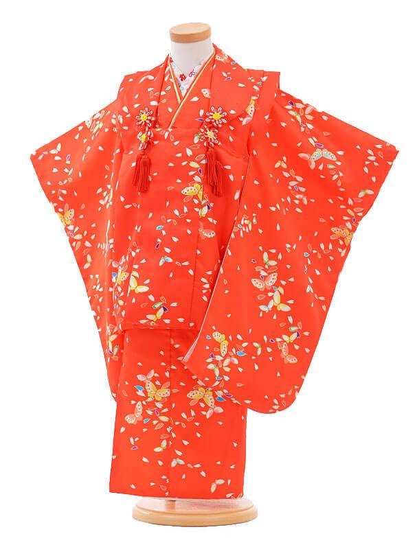 ▶七五三(3歳女被布)H017赤地 花びらに蝶