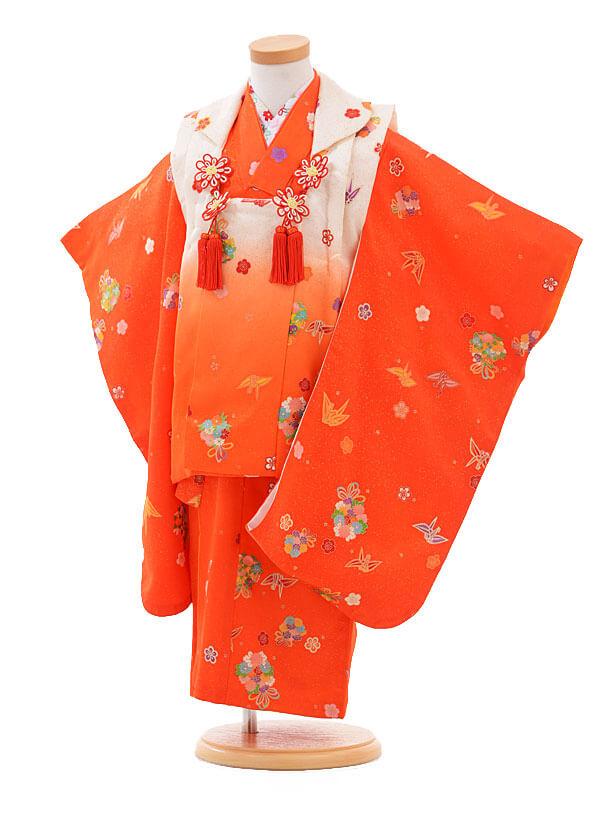 七五三(3歳女被布)H018白赤ぼかし×花に折鶴