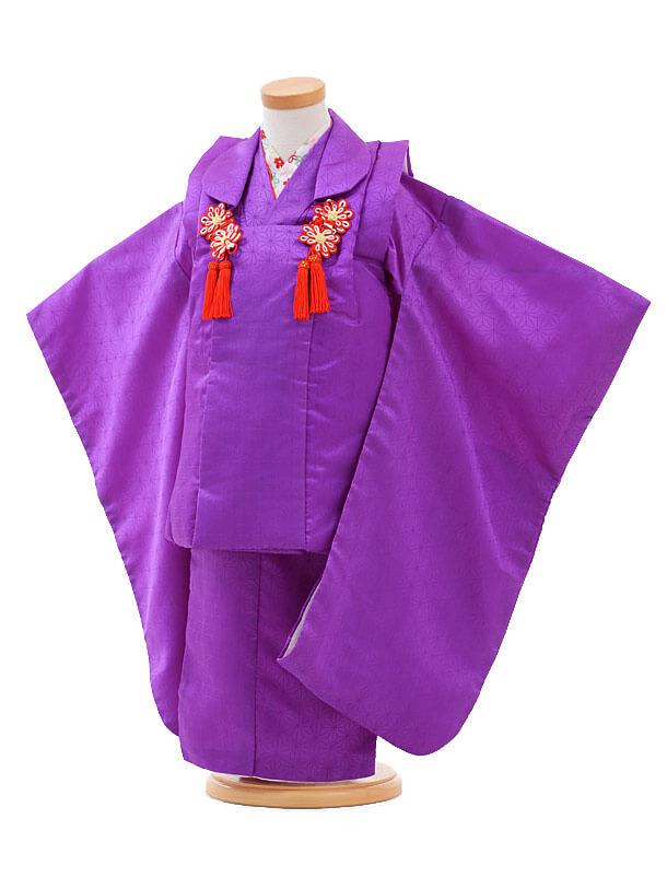 七五三(3歳女被布)H022紫 麻の葉
