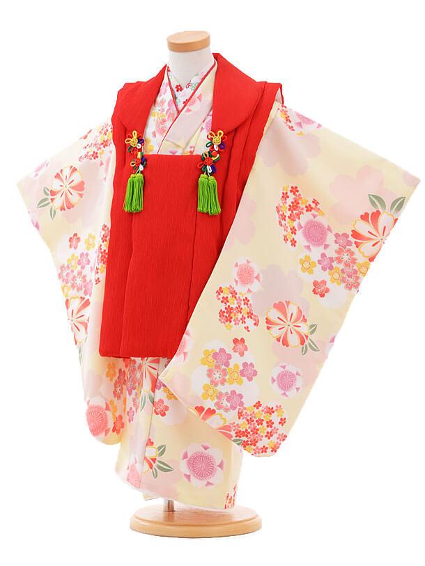 ▶七五三(3歳女被布)H023赤×クリーム色花