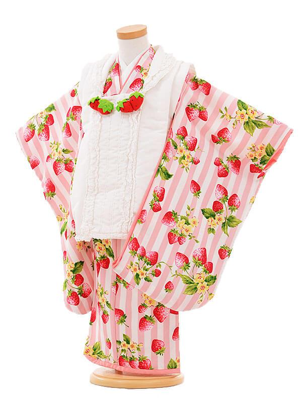 七五三レンタル(3歳女被布)I052 Tsubasakids 白×ピンクいちご