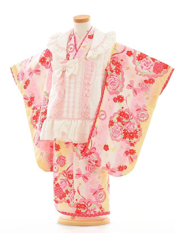 七五三レンタル(3歳女被布)I054 Seiko 白×黄色バラ