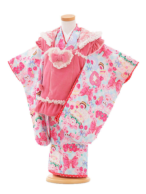 七五三レンタル(3歳女被布)I056 Seiko うさみみピンク×水色