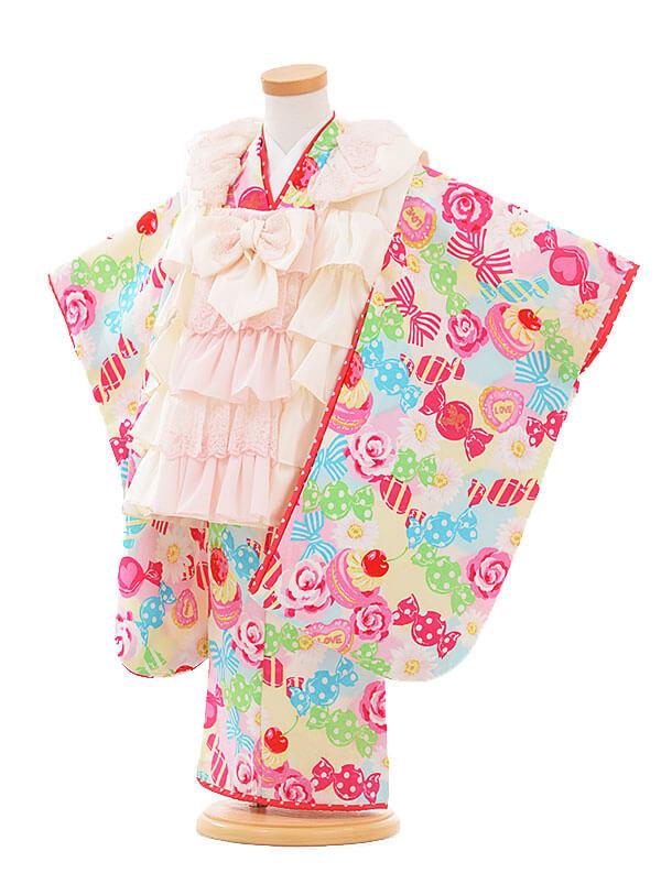 七五三レンタル(3歳女被布)I059 Seiko 白フリル×白キャンディー