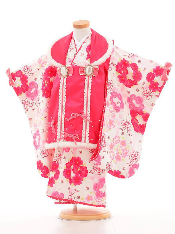 七五三レンタル(3歳女被布)I060 Seiko サテンピンク×白リボン