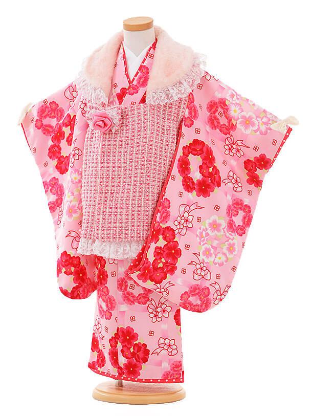 七五三レンタル(3歳女被布)I061 Seiko ピンク×ピンク花