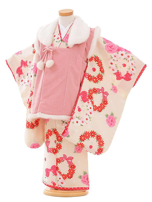 七五三レンタル(3歳女被布)I062 Seiko ピンク×白花リボン
