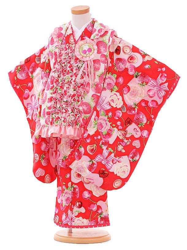 七五三レンタル(3歳女被布)I063 Seiko 白にいちご×ピンク